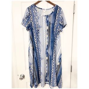 LulaRoe Carly Blue Print Dress
